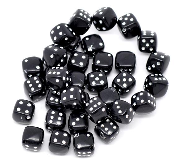 """Акриловые бусины """"Игральные кубики"""" 9*9 мм черная 10 шт/уп [10231 IC16"""