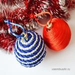 Новогодние шары для елки из шнуров, бусин и бисера своими руками